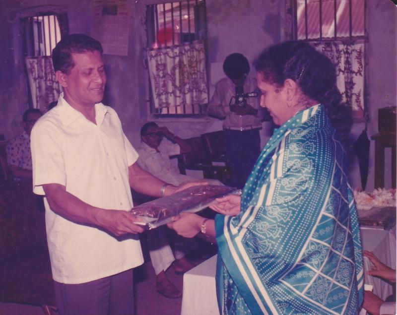 Receiving Alakta Sangeet Award in Comilla, 1987